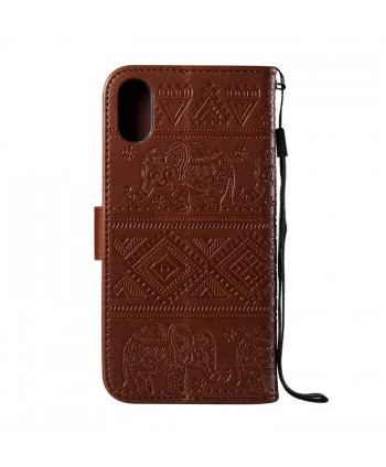 iPhone Elephant Embossed Leather Wallet Folio Case - Brown