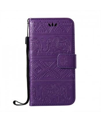 iPhone Elephant Embossed Leather Wallet Folio Case - Purple