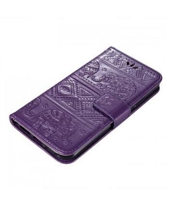 iPhone Elephant Embossed Leather Wallet Folio Case - Purple