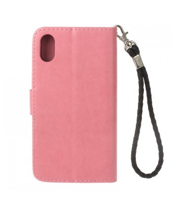 iPhone Owl Embossed Leather Wallet Folio Case - Pink