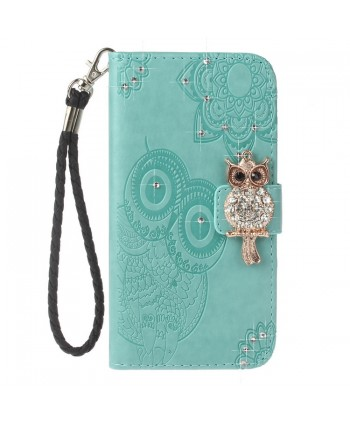 iPhone Owl Embossed Leather Wallet Folio Case - Green