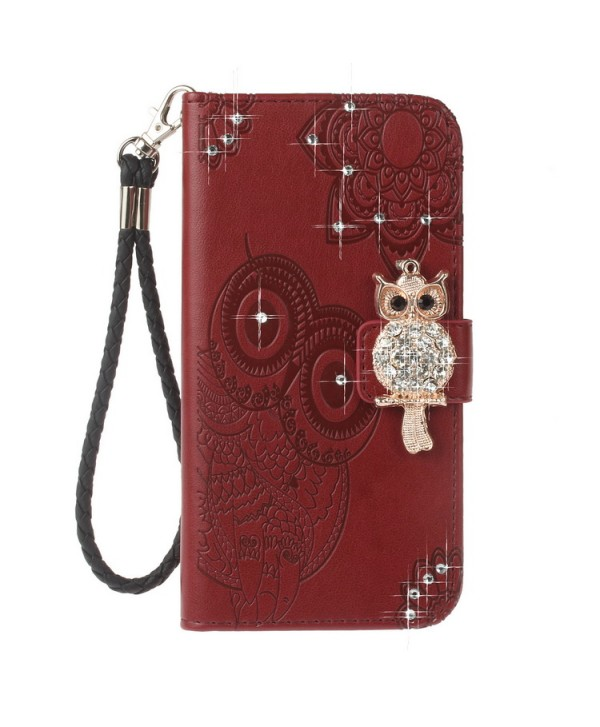 iPhone Owl Embossed Leather Wallet Folio Case - Brown