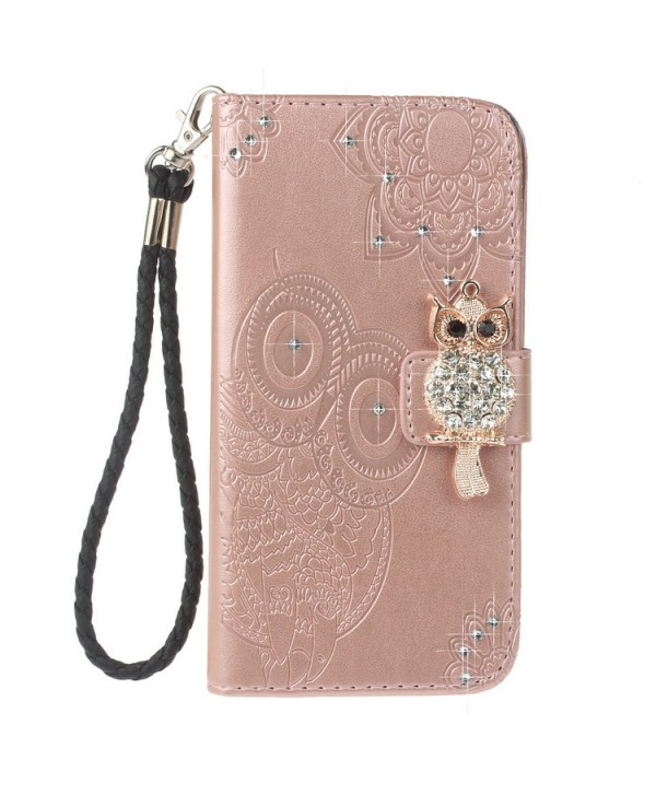 iPhone Owl Embossed Leather Wallet Folio Case - Rose Gold