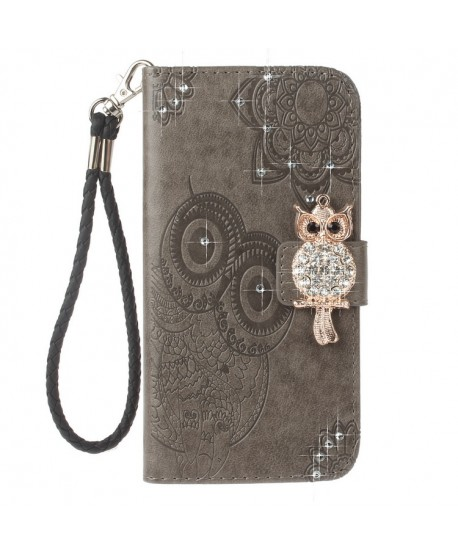 iPhone Owl Embossed Leather Wallet Folio Case - Grey