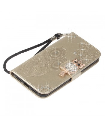 iPhone Owl Embossed Leather Wallet Folio Case - Gold