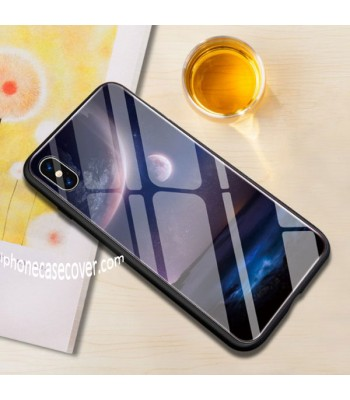 Tempered Glass iPhone Cases - The Full Moon, Half Moon And The Earth (4 Pieces Included)