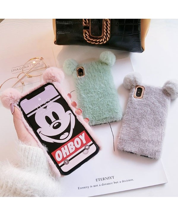 iPhone XR Fluffy Fuzzy Fur Mickey Mouse Case