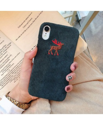 iPhone X Slim Corduroy Deer/Wolf/Penguin Protective Case