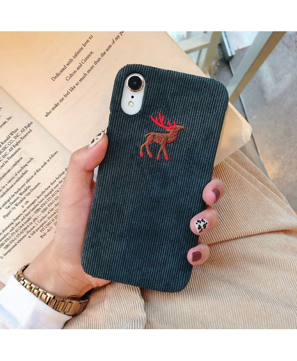 iPhone X Slim Corduroy Deer/Wolf/Penguin Protective Case