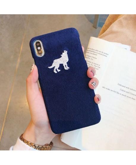 iPhone XR Slim Corduroy Deer/Wolf/Penguin Protective Case