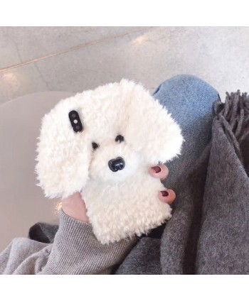 iPhone X Fluffy Fuzzy Puppy Protective Case