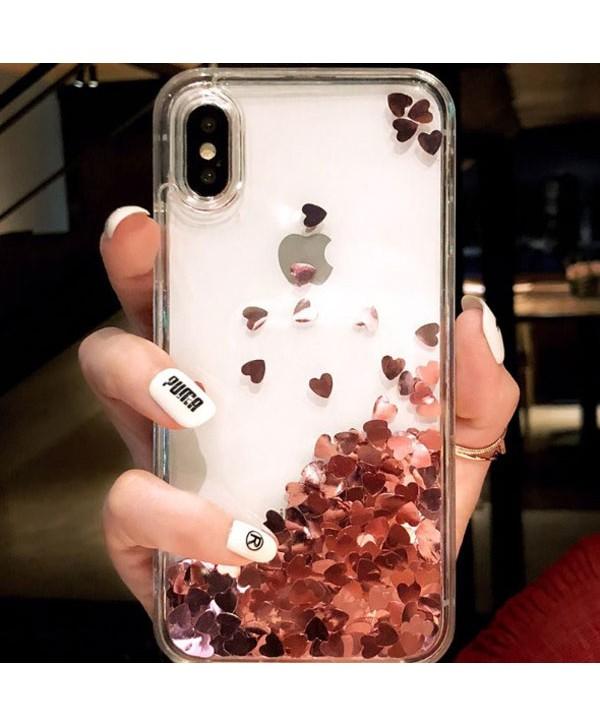 iPhone Liquid Glitter Pink Hearts Waterfall Case