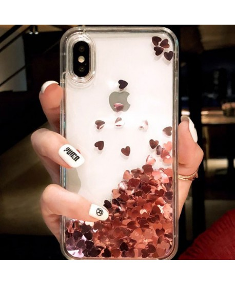 iPhone Liquid Glitter Pink Hearts Waterfall Case