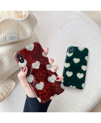iPhone X Conch Shell Effect Hearts Case