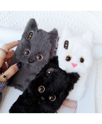 iPhone X Fluffy Fuzzy Fur Cat Protective Case