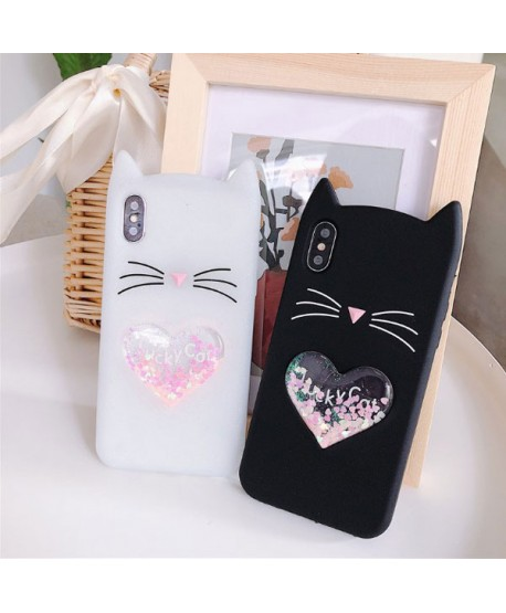 iPhone XS 3D Lucky Cat Liquid Glitter Heart Case