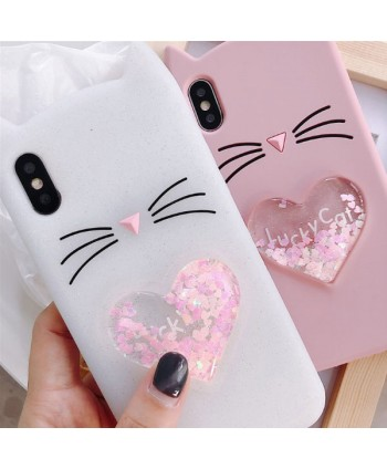 iPhone X 3D Lucky Cat Liquid Glitter Heart Case