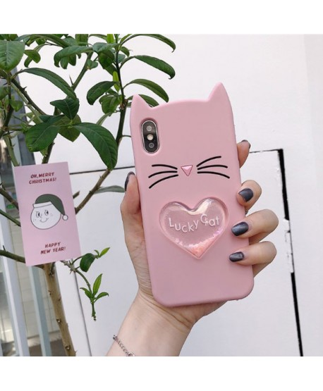 iPhone XR 3D Lucky Cat Liquid Glitter Heart Case