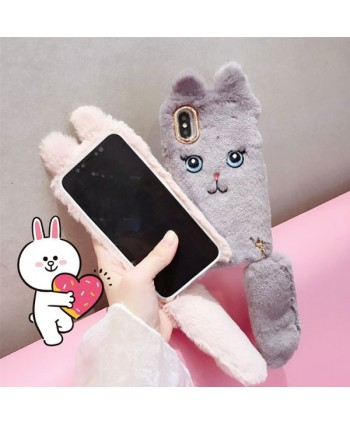 iPhone X Fluffy Fuzzy Cartoon Cat Protective Case