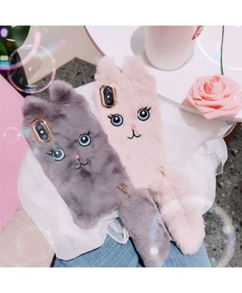 iPhone X Fluffy Fuzzy Cartoon Cat Protective Case