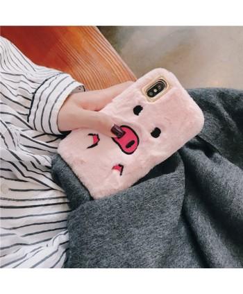 iPhone X Fuzzy Fur Piggy Protective Case