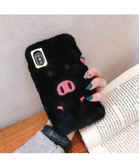 iPhone XS Fuzzy Fur Piggy Protective Case