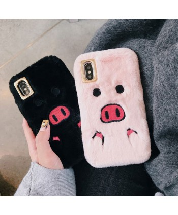 iPhone X Fuzzy Fur Piggy Protective Case