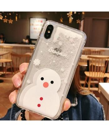 iPhone Christmas Snowman Liquid Quicksand Case