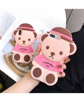 iPhone 3D Teddy Bear Silicone Case