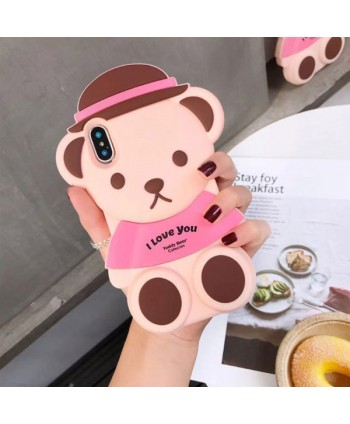 iPhone 3D Teddy Bear Silicone Case