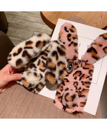 iPhone XS Leopard Print Fluffy Fur Bunny Case
