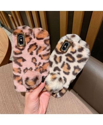 iPhone XR Leopard Print Fluffy Fur Bunny Case