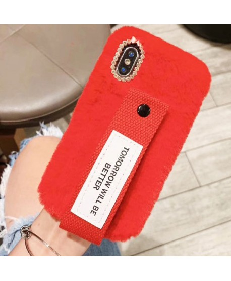 iPhone XS Fuzzy Fur Case With Strap
