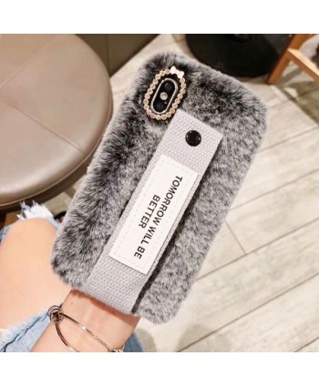 iPhone X Fuzzy Fur Case With Strap