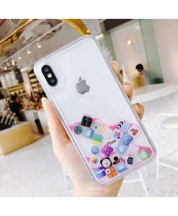 iPhone X App Icon Moving Glitter Case