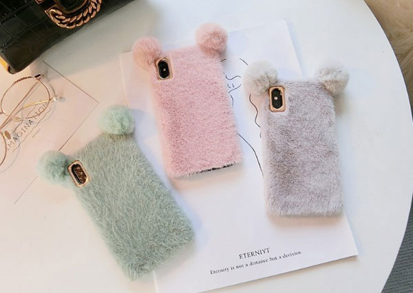 Fluffy Fuzzy Faux Fur Mickey Mouse iPhone Case