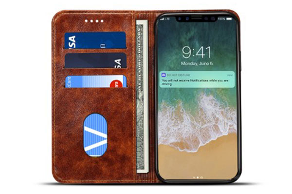 iPhone XS Slim Leather Folio Case With Card Holder