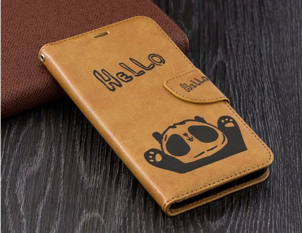 iPhone XS Cute Cartoon Panda Leather Folio Case