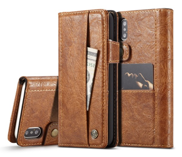 iPhone XS Crazy Horse Leather Folio Case