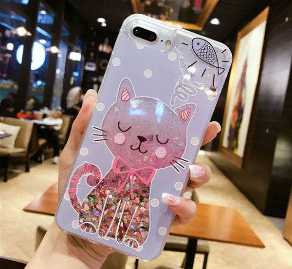 Cat And Fish Glitter Quicksand iPhone Case