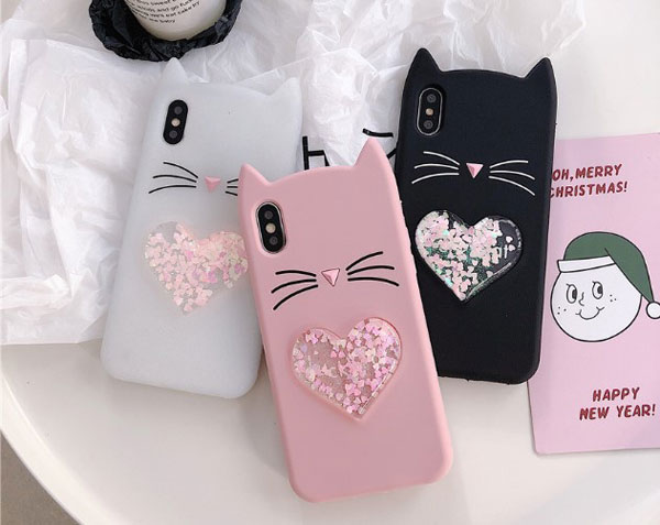 Lucky Cat Liquid Glitter Heart iPhone Case