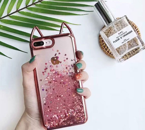 Cat Ear Glitter Quicksand iPhone Case