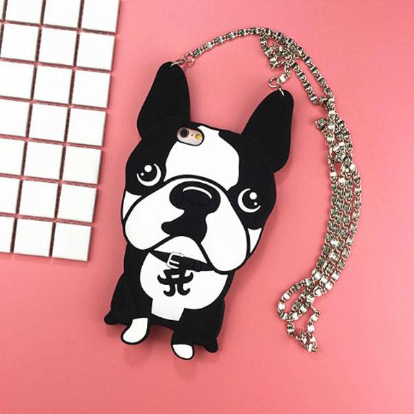 iPhone 3D Cartoon Bulldog Silicone Case