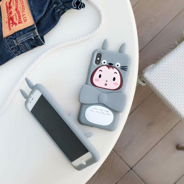 iPhone 3D Totoro Girl Silicone Kickstand Case