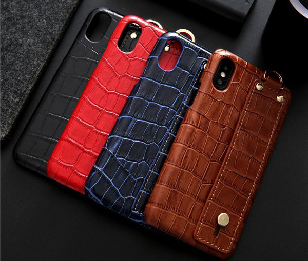iPhone Crocodile Grain Genuine Leather Case With Strap