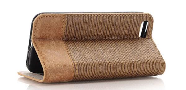 iPhone Cross Grain Leather Flip Case