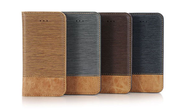 iPhone Cross Grain Leather Flip Case
