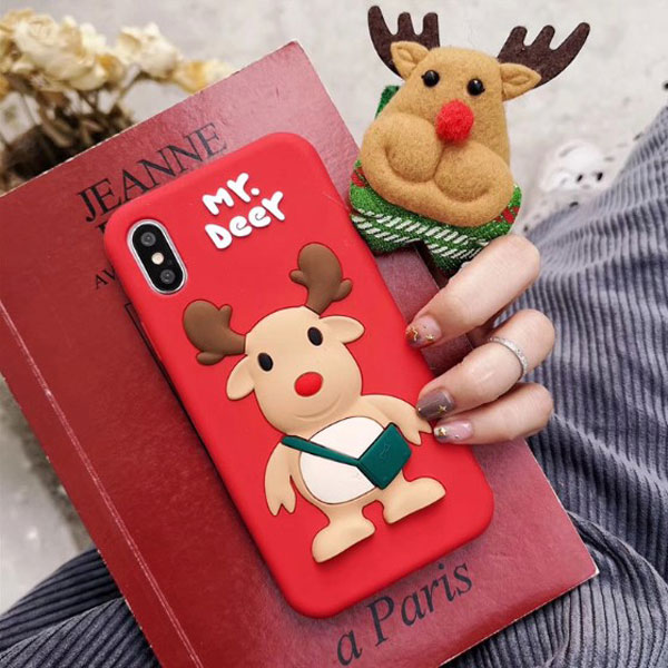 iPhone 3D Christmas Deer Soft Silicone Case