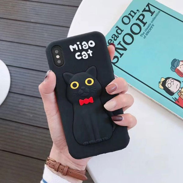 iPhone Cute 3D Black Cat Soft Silicone Case
