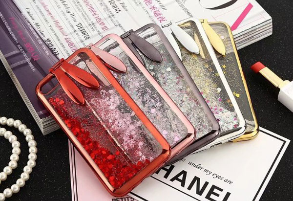 iPhone Liquid Glitter Quicksand Bunny Ear Kickstand Case